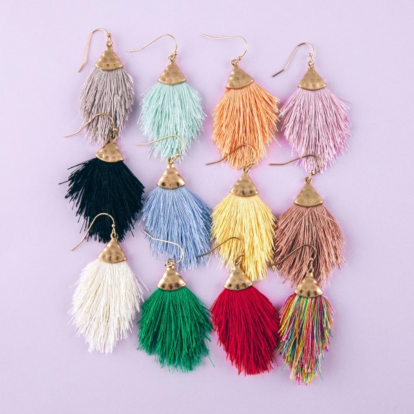 "Fringe tassel dangle earrings.  - Approximately 2"" in length"