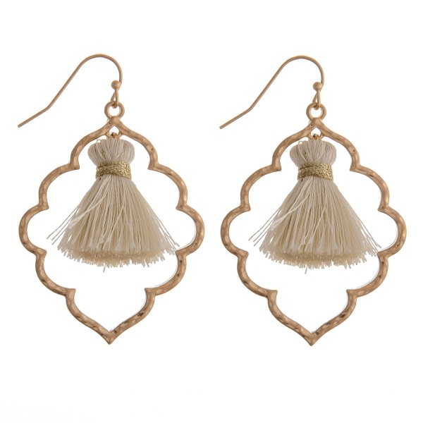"Tassel nested macroccan earrings.  - Approximately 2.25"" in length"