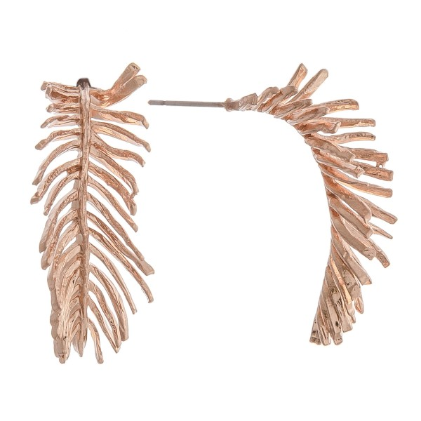 "Brass metal fringe leaf earrings.  - Approximately 1"" in length"