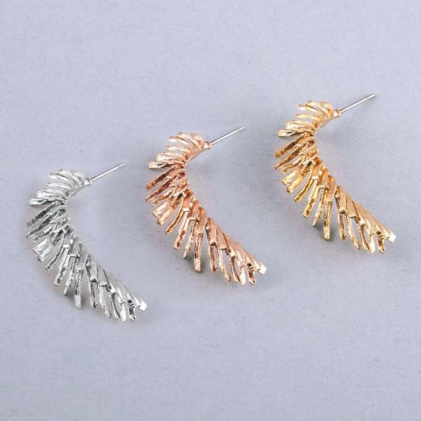"Brass metal fringe leaf earrings.  - Approximately 1"" in length"