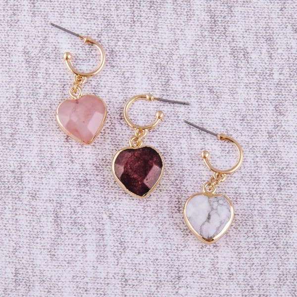 "Natural stone heart huggie open hoop earrings.  - Approximately 1.5"" in length"
