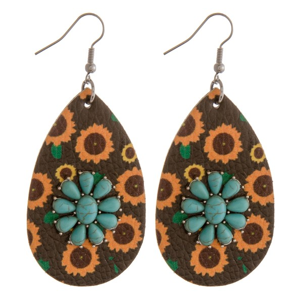 "Faux leather sunflower natural stone teardrop earrings.  - Approximately 2.75"" in length"