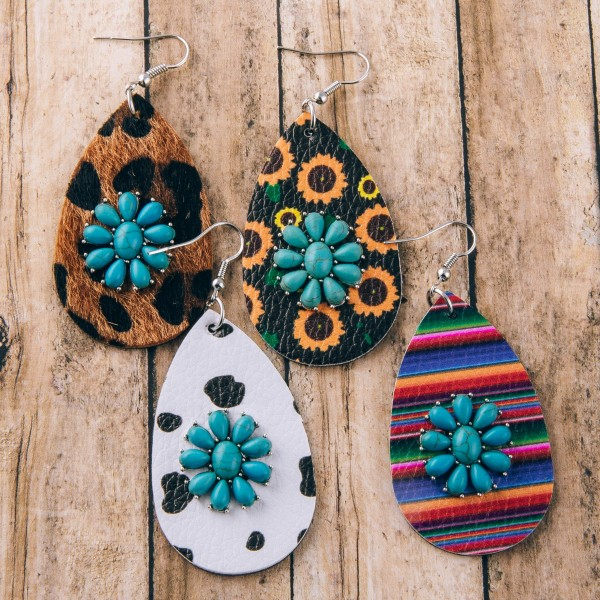 """Faux leather cow print natural stone teardrop earrings.  - Approximately 2.75 """" in length"""