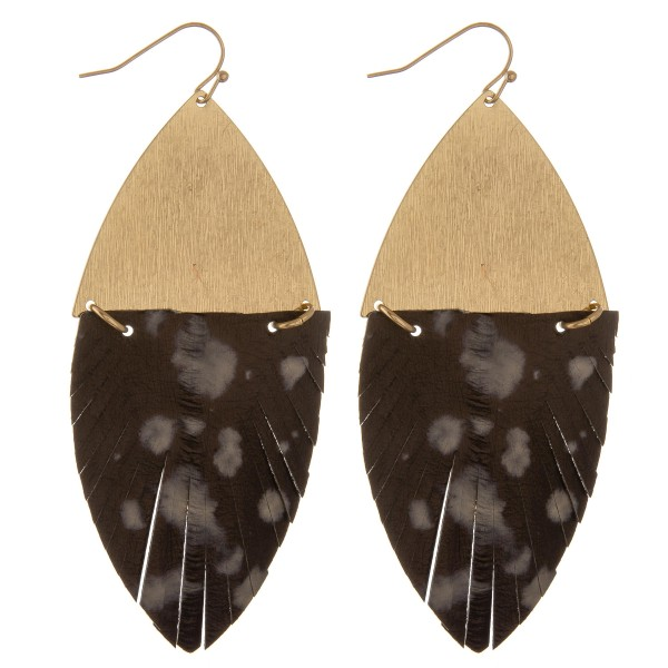 "Faux leather water spot feather hinge statement earrings.  - Approximately 4"" L - 1.5"" W"