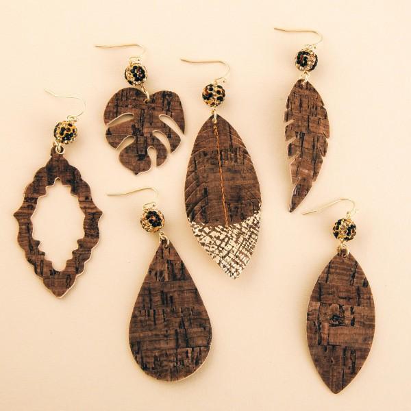 """Leopard print rhinestone cork drop earrings.  - Approximately 3.5"""" L"""