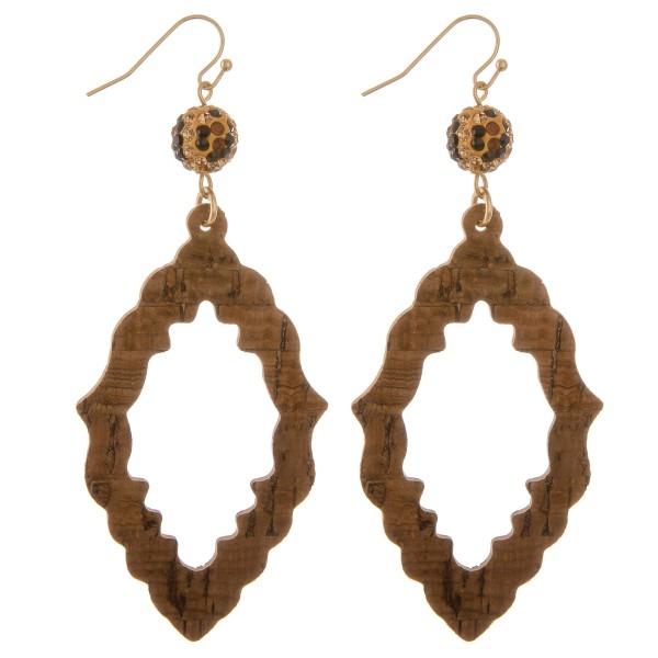"Leopard print rhinestone cork cut out moroccan drop earrings.  - Approximately 3.5"" L"