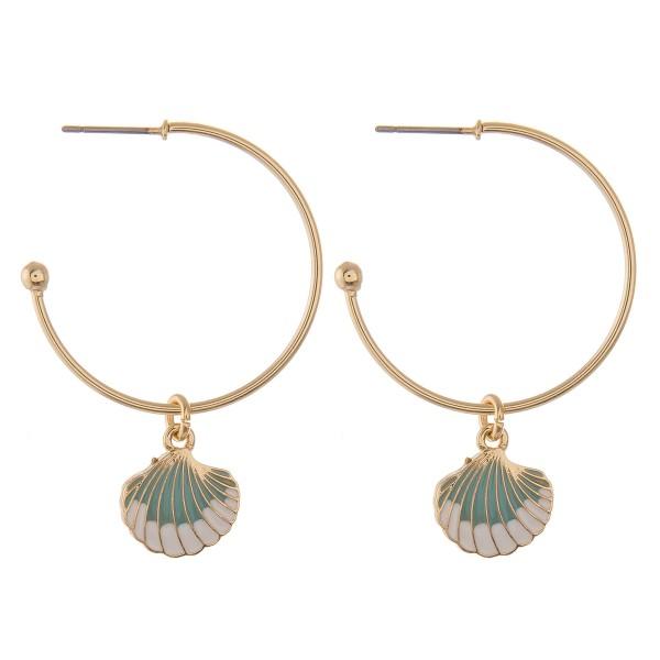"Enamel coated seashell open hoop earrings.  - Approximately 2"" in length - 1.25"" in hoop diameter"