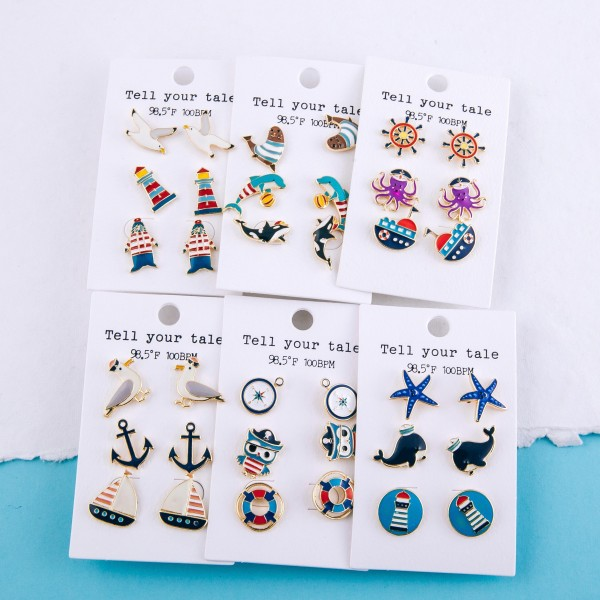 """Enamel coated nautical beach shore stud earring set.  - 3 pairs/pack - Seagull, Lighthouse and Walrus - Approximately .5"""""""