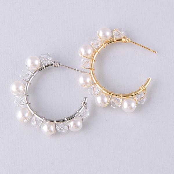"Iridescent pearl beaded open hoop earrings.  - Approximately 1"" in diameter"