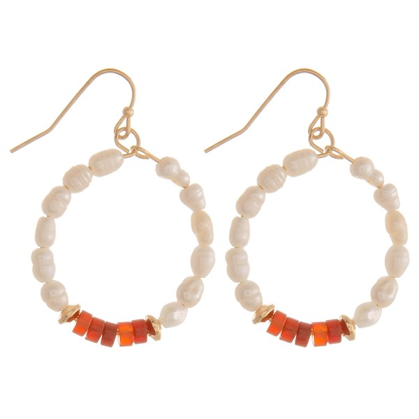 "Natural stone pearl beaded earrings.  - Approximately 1.5"" in length"