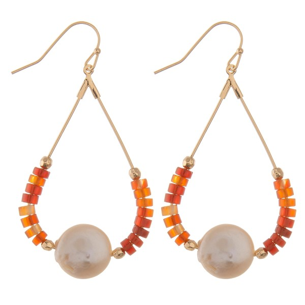 "Semi precious beaded faux pearl teardrop earrings.  - Approximately 2.5"" L"