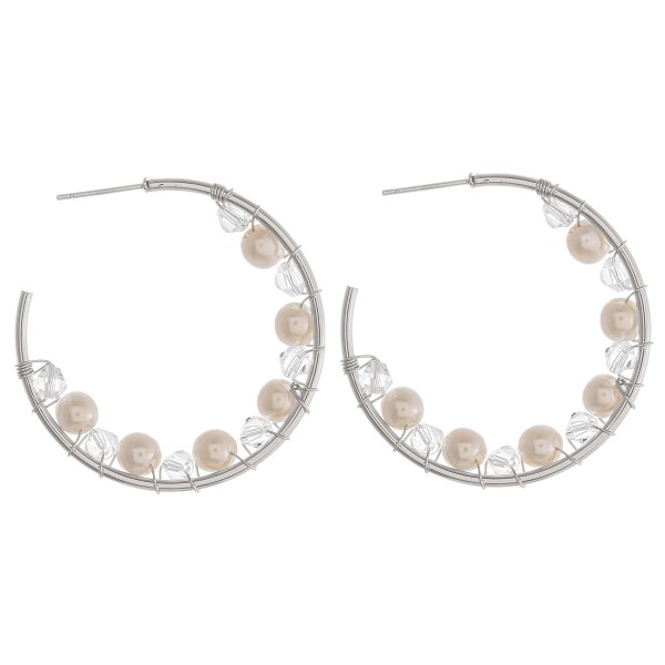 "Iridescent pearl beaded hoop earrings.  - Approximately 1.5"" in diameter"