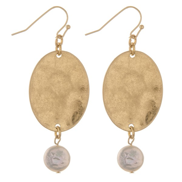 """Hammered oval pearl drop earrings.  - Approximately 2.5"""" L"""