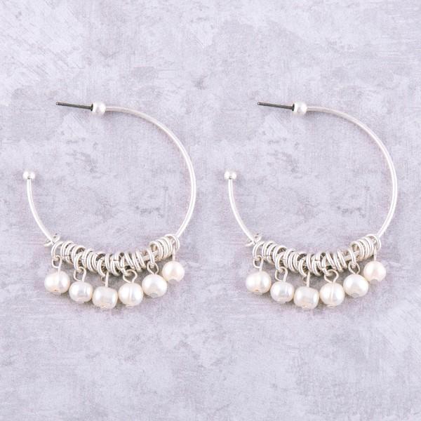 """Pearl beaded dangle open hoop earrings.  - Approximately 2"""" in length - 1.5"""" in hoop diameter"""