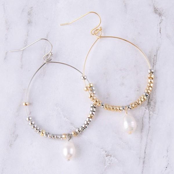 """Beaded teardrop drop pearl earrings.  - Approximately 2"""" in length"""