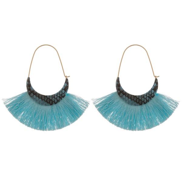 """Fringe tassel snakeskin bohemian wire hook hoop earrings.  - Approximately 3"""" in length"""