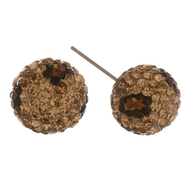 Leopard print rhinestone stud earrings.  - Approximately 14mm in diameter