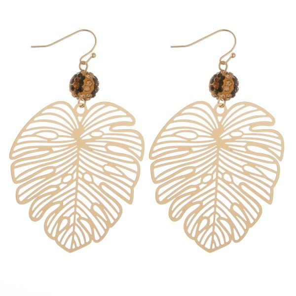 "Rhinestone filigree palm leaf drop earrings.  - Approximately 3"" L"