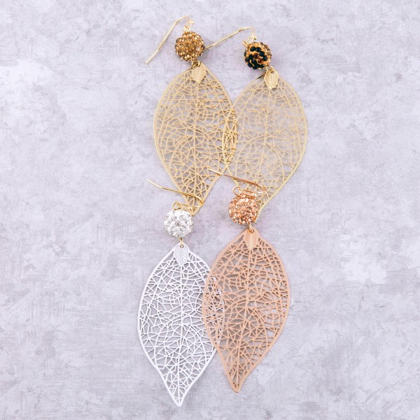 "Rhinestone filigree leaf drop earrings.  - Approximately 3.5"" L"