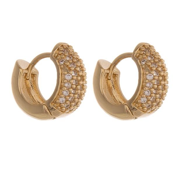 """Rhinestone huggie hoop earrings.  - Approximately .5"""" in diameter"""