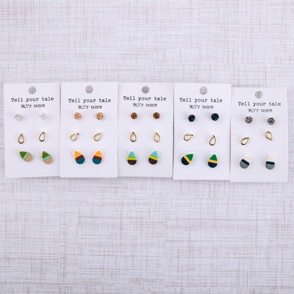 Color block teardrop stud earring set with rhinestone studs.  - 3 pairs/pack - Approximately 1cm in size