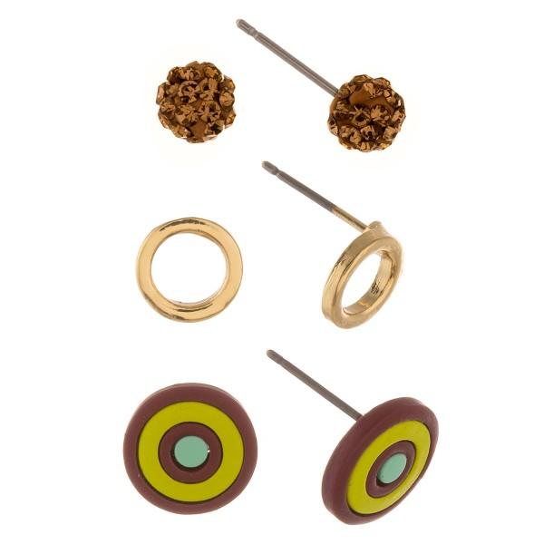 Bullseye stud earring set with rhinestone studs.  - 3 pairs/pack - 1cm in diameter