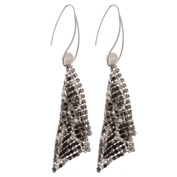 "Metal mesh leopard print pearl threader earrings.  - Approximately 4"" in length"