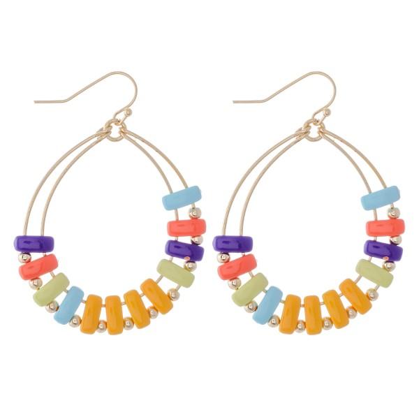 """Enamel Coated Color Block Teardrop Earrings.  - Approximately 2"""" L"""