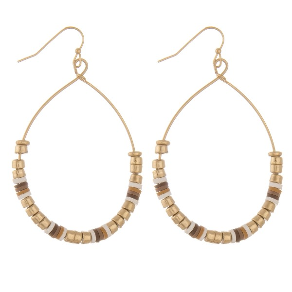 "Gold block beaded teardrop earrings with spacer bead details.  - Approximately 2.5"" L"