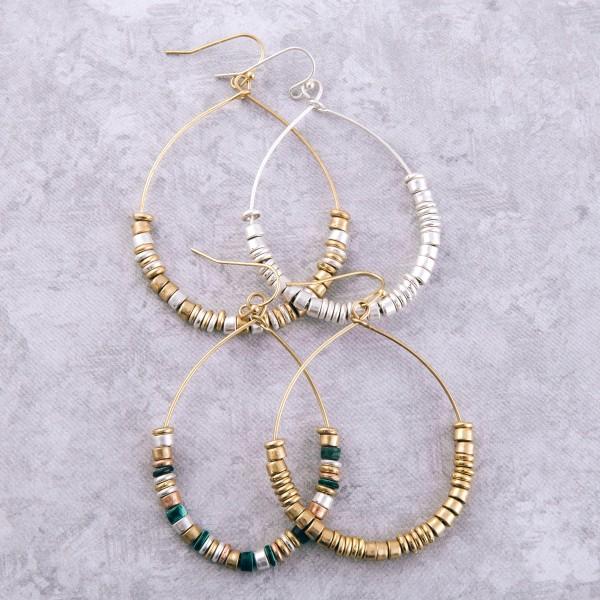 "Multi metal beaded drop earrings.  - Approximately 2"" L"