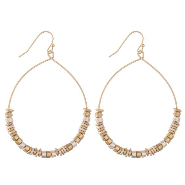 "Two tone multi metal beaded drop earrings.  - Approximately 2"" L"