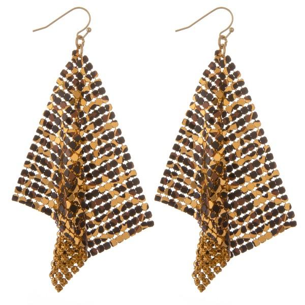 "Metal mesh leopard print statement earrings.  - Approximately 4"" in length - 3"" in width"