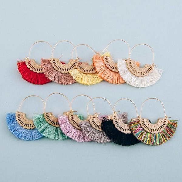 "Fringe tassel encased wire hook hoop earrings.  - Approximately 2"" in length"