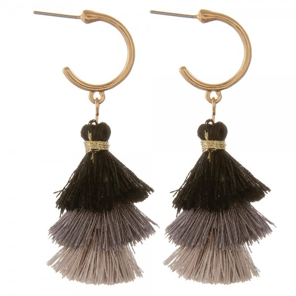 Wholesale fan tassel drop hoop earrings