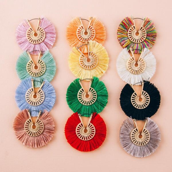 """Fringe tassel pin catch hoop earrings.  - Approximately 1.5"""" in diameter"""