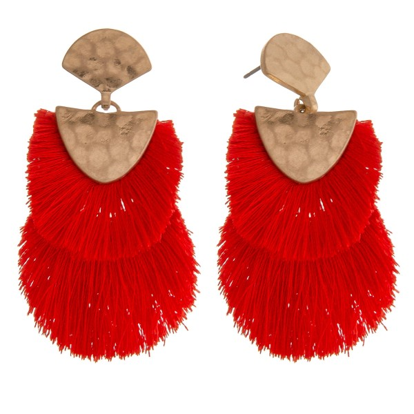 "Doubled Fringe Tassel Hinge Drop Earrings.  - Approximately 2.5"" L"