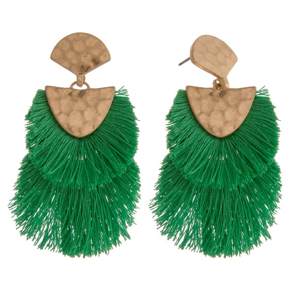 "Doubled Fringe Tassel Hinge Drop Earrings.  - Approximately 2.5"" L"