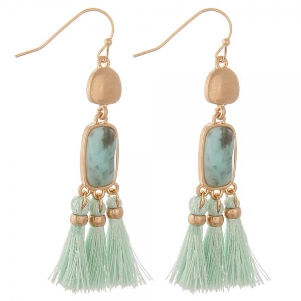 """Semi precious tassel drop earrings.  - Approximately 2"""" in length"""