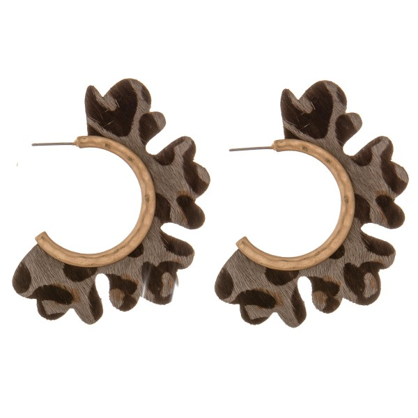 "Genuine leather leopard print flower cut out hoop earrings.  - Approximately 2"" in diameter"