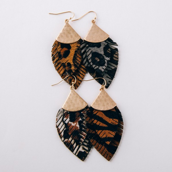 "Doubled genuine leather leopard print feather earrings.  - Approximately 2.5"" in length"