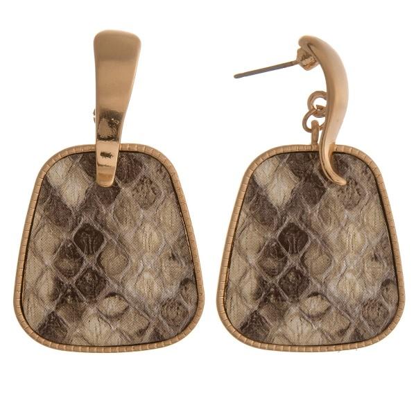 """Snakeskin hinge dangle earrings.  - Approximately 1.75"""" in length"""