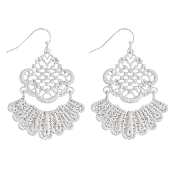 "Metal filigree hinge tassel earrings.   - Approximately 1.5"" in length"
