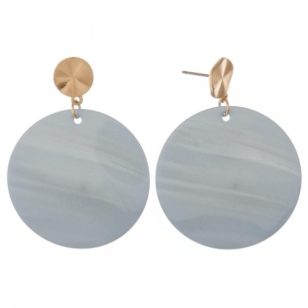 "Genuine shell drop disc earrings.  - Approximately 2"" in length and 1.5"" in diameter"