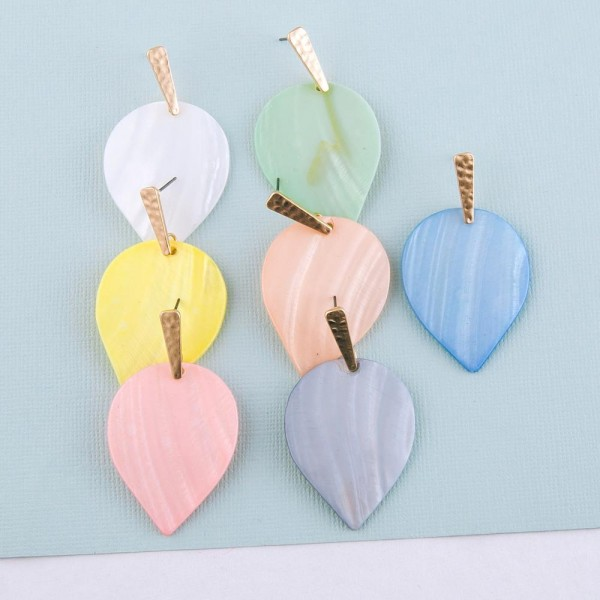 """Genuine shell inverted teardrop earrings.  - Approximately 2"""" in length"""