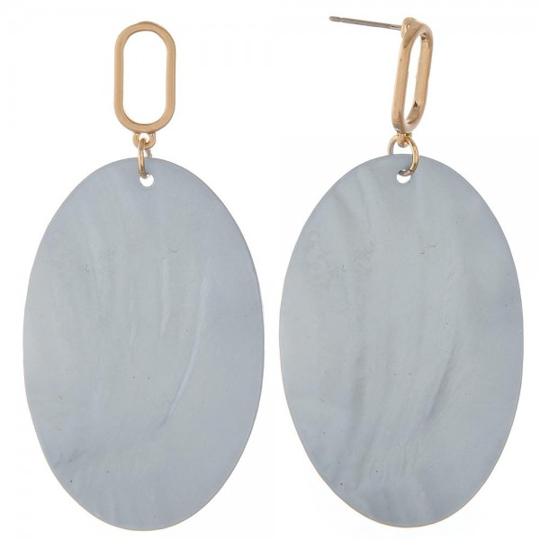 "Genuine shell oval statement drop earrings.  - Approximately 2.75"" in length"