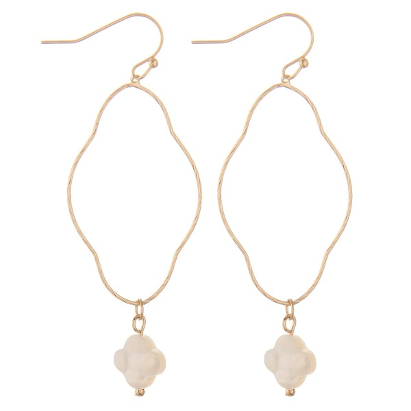 """Thin Gold Genuine Shell quatrefoil drop earrings.  - Approximately 2.75"""" L"""