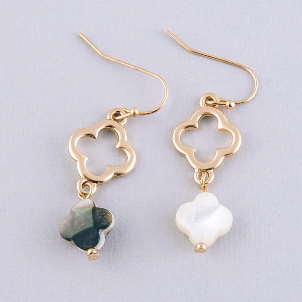 """Genuine shell clover drop earrings.  - Approximately 1.5"""" in length"""