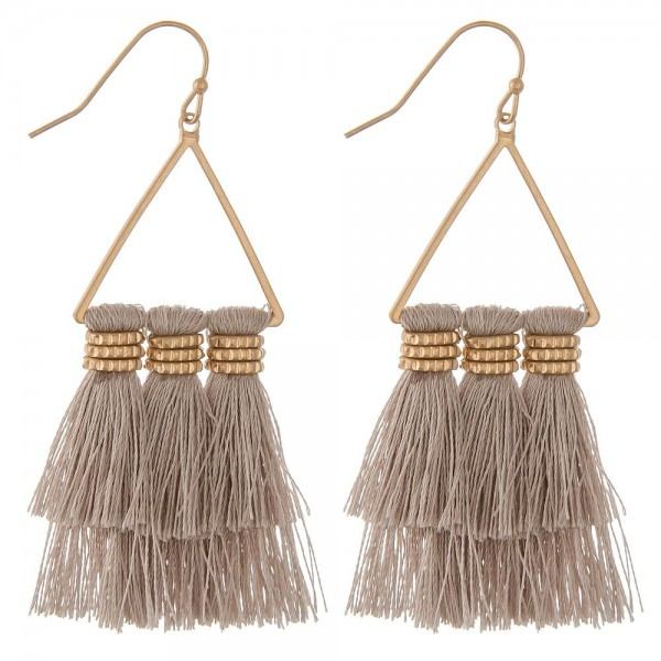 "Triangle Fringe Tassel Bohemian Drop Earrings.  - Approximately 2.5"" L"