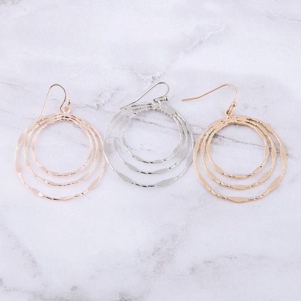 """Textured round metal drop earrings.  - Approximately 1.5"""" in length and diameter"""