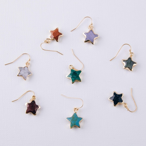 "Semi precious star earrings.  - Approximately 1"" in length"